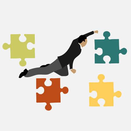 businessman next to puzzles vector illustration Stock Illustratie