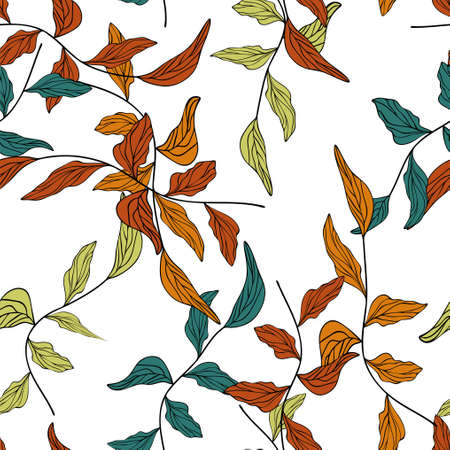 Branches with leaves drawn vector illustration eps 10