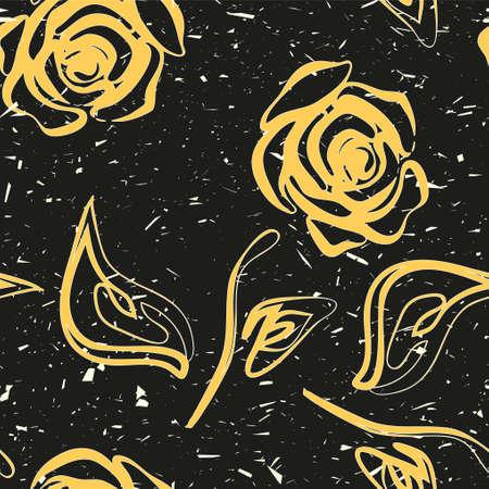 Roses yellow seamless pattern vector illustration