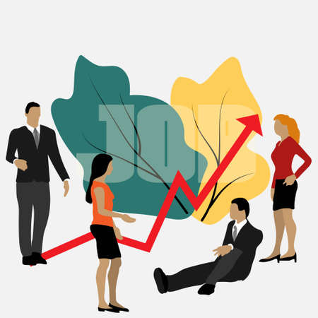 Vector business illustration, leadership qualities in a creative team, direction to a successful path, overcoming obstacles on the way to success, high level of work