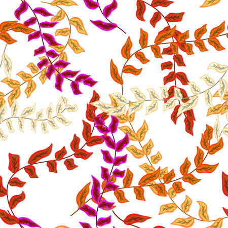 tropical branches with leaves seamless pattern illustration Illustration