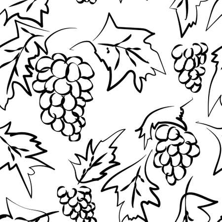 Abstract bunch of grapes with leaves on a white background. Bunch of grapes with leaves are drawn in a sketch style. Seamless pattern  イラスト・ベクター素材