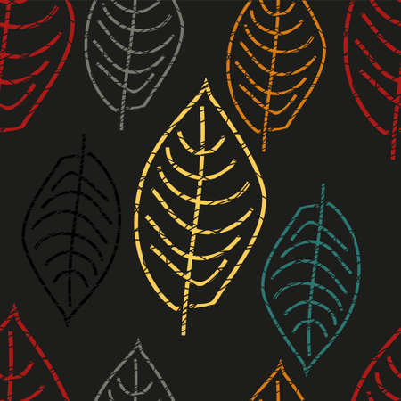 Contours of leaves. Black and white colors. Scandinavian style. White background. Seamless pattern. Primitive drawing. Children's illustration. Yellow umbrellas. For a different design