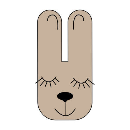 Bunny. Scandinavian style. Seamless pattern. Drawing for children
