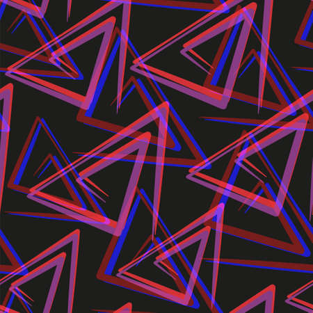 Abstract triangles in hipster style on colorful background. Abstract geometric seamless pattern