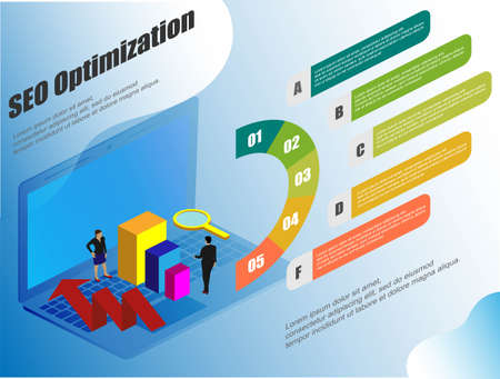 Isometric, great design for any purposes. Conceptual web seo illustration. Vector seo infographic, management business. Illustration for web background design.