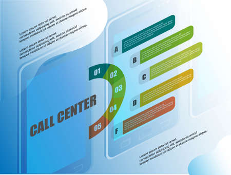 Call center. Flat illustration. Office business concept. 3d isometric vector. Communication, connection concept. Call icon symbol vector