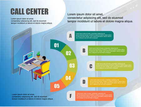 Icon with call center. 3d isometric people illustration. Business presentation. Connection concept. Operator headset vector. Vector infographics. Call center operator