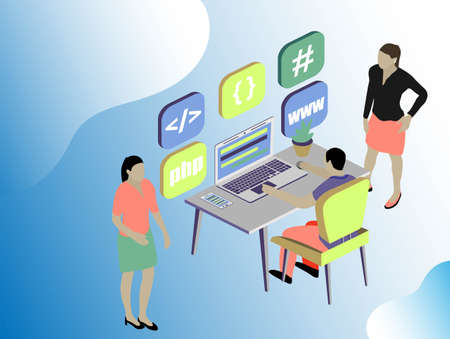 Isometric stale. Web dewelopment. Office concept business people vector illustration flat design. Digital technology concept. People character vector illustration flat design.