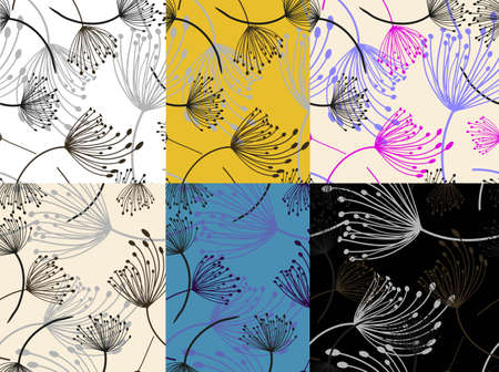 Dandelion seamless in flat style. Vector set. Vector paper art illustration. Dandelion seamless in beautiful style. Flower decorative design. Flower meadow. Flat line icon. Repeat design Stok Fotoğraf - 129755036