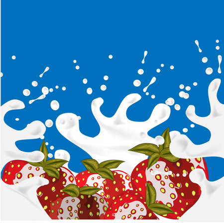 Strawberry background. Red splashes of milk in beautiful style on blue background. Splashes of milk, great design for any purposes. Fresh fruit. Water drop illustration.
