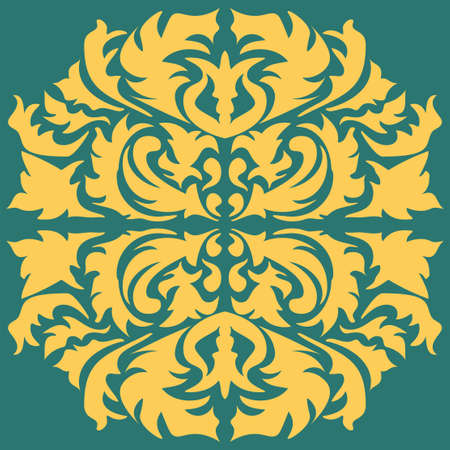 Damask seamless floral pattern. Royal wallpaper. Flowers, leaves on a green background. Illustration