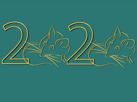 Gold 2020 vision with rat icons. Line art design mouse, mice, rat icons. 2020 new year. Banner gold 2020 happy new year, Vector flat illustration with a silhouette image of a mouse