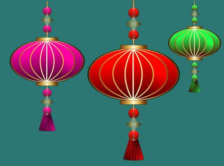 Lanterna cinese astratta per il design della decorazione. Capodanno lunare. Decorazione di eventi per feste. Luce sospesa. Lanterna cinese, ottimo design per qualsiasi scopo.