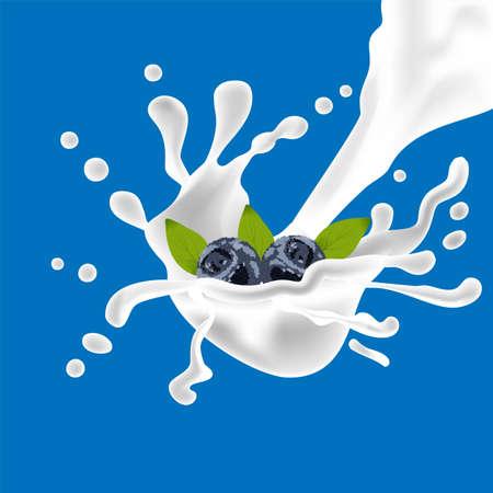 Vector juicy wave, flowing liquid. Splashing milk. Vector fluid. Blueberries background. Juicy natural fruit. Blueberry isolated
