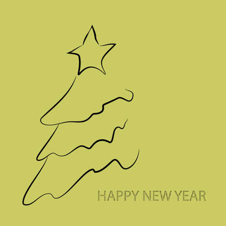 Tree, great design for any purposes. 2020. Greeting card, poster, banner, design element. Silhouette vector. Party event decoration. Christmas tree card background.
