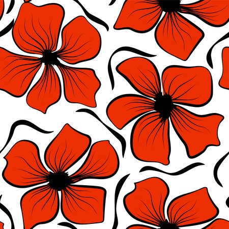 Red poppies on colorful background. Seamless floral texture. Vector illustration wallpaper seamless pattern background. Black poppies in vintage style Vettoriali