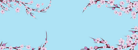 Blue abstract background. Branch of sakura in abstract style on blue background. Sakura vector flower. Horizontal banner. Spring pattern. Cherry blossom branch