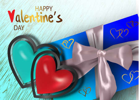 Happy valentines day. Valentine couple. Realistic blue and red heart in a metal frame. Realistic satin bow gift box. Greeting card, gift poster, holiday banner. website for header