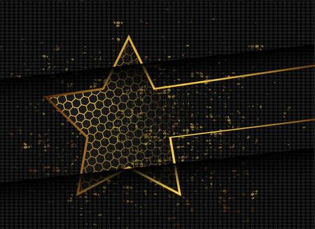 Gold abstract stars on dark background. Gold glitter star. Banner, poster template. Dark color luxury stars background