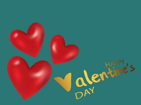 Valentines day celebration concept. Hand drawn a red heart for brochure design on green background. Happy valentines day card. Vector illustration postcard. Greeting card.