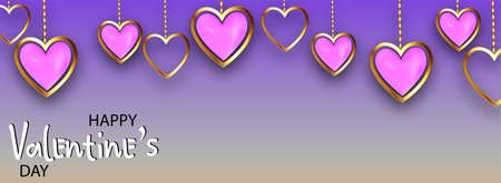 Happy valentine's day, great design for any purposes. Background with realistic metallic gold and pink hearts. Greeting card, gift poster, holiday banner. website for header