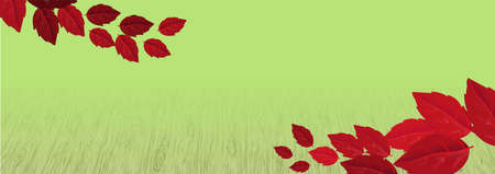 Greeting card template on red leaves backdrop. Red realistic leaves, great design for any purposes. Decorative backdrop vector.