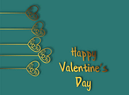 Heart of gold for decorative design. Valentines day background. Beautiful abstract image with heart of gold on green background for celebration decoration design.