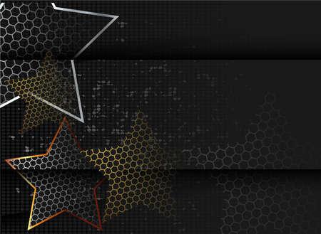 Gold abstract stars on dark background. Gold glitter star. Black design element. Modern template design. Glitter abstract golden luxury pattern Vectores