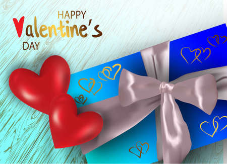 Happy valentines day. Valentine couple. Realistic red heart in a metal frame. Realistic satin bow gift box. Greeting card, gift poster, holiday banner. website for header Vectores