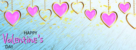 Happy valentines day, great design for any purposes. Background with realistic metallic gold and pink hearts. Greeting card, gift poster, holiday banner. website for header
