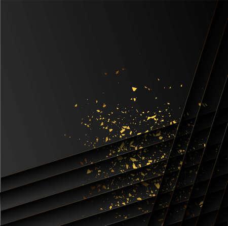 Golden sequins in modern style on black background. Dark color luxury background. Sparkling texture