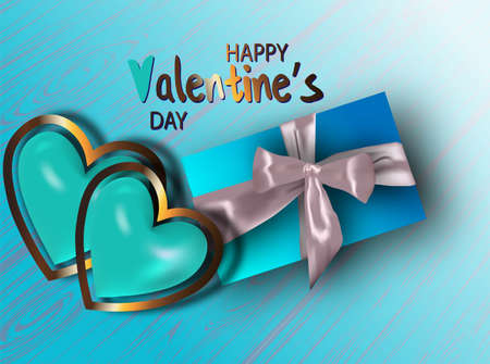 Happy valentines day. Valentine couple. Realistic blue heart in a metal frame. Realistic satin bow gift box. Greeting card, gift poster, holiday banner. website for header Vectores