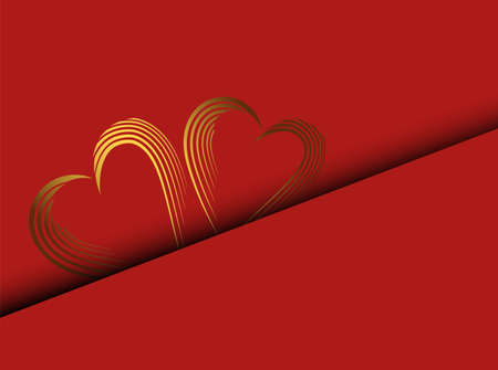 Invitation, greeting card. Modern banner with heart of gold on red background. Valentine love red background. Vectores