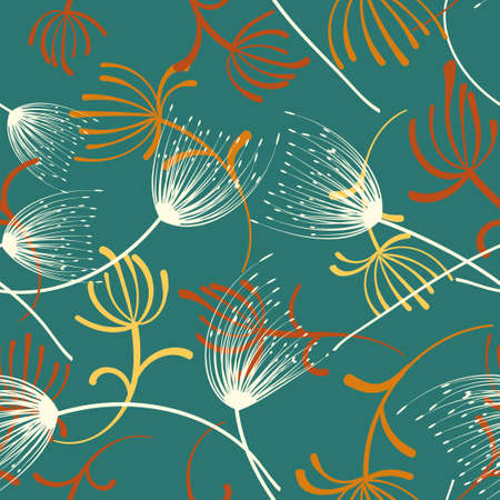 Watercolor dandelion seamless for fabric design. Seamless floral pattern. Spring decoration. Hand-drawn vector illustration. Abstract flower illustration. Spring design Vectores