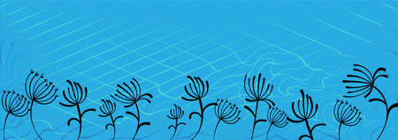 Abstract paper dandelions for web backdrop design. Blue background vector. Blue paper dandelions in beautiful style on light background.