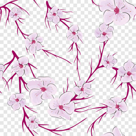 Japanese pattern vector. Modern abstract illustration with sakura on light background. Blossom floral seamless pattern Vectores