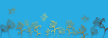 Abstract paper gold dandelions for web backdrop design. Blue background vector. Blue paper dandelions in beautiful style on light background.