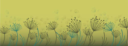Dandelion for decoration design. Line art dandelion for banner design. Colorful abstract background. Abstract geometric pattern. Vectores