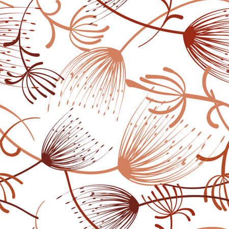 Hand drawn dandelion seamless for decoration design. Spring blossom background. Floral seamless pattern. Flying dandelion. Vector floral pattern. Vectores