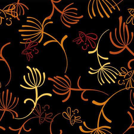 Dandelion grey seamless on dark background. Decorative dandelion wallpaper. Seamless pattern background. Abstract surface pattern design. Vectores