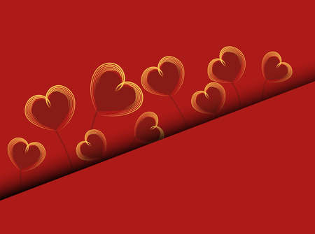 Valentine love red background. Abstract hearts in abstract style on red background. Decorative backdrop vector. Greeting card