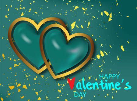 2 realistic green heart for decorative design. Valentine love red background. Invitation, greeting card. Vector realistic. Love heart frame.