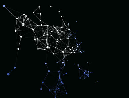 Trendy line art icon with blue dots on dark background. Decorative backdrop. Business concept. Abstract geometric pattern. Black design element. Trendy decor. Foto de archivo