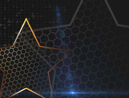 The gold stars for web background design. Modern wallpaper. Dark backdrop. Modern design template with the gold stars on transparent background. Abstract art. Foto de archivo - 142606237