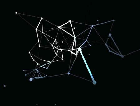 Trendy line art icon with blue dots on dark background. Decorative backdrop. Business concept. Abstract geometric pattern. Black design element. Trendy decor. 免版税图像