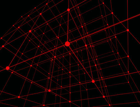 Colorful red dots in modern style on black background. Textile design texture. Abstract wallpaper. Outline background. Black outline. Space backdrop. Thin line illustration. Artistic backdrop. Foto de archivo