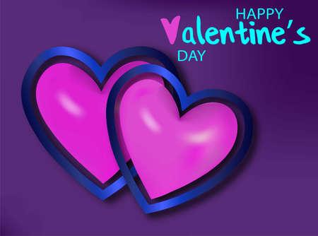 2 realistic pink heart for decorative design. Valentine love red background. Invitation, greeting card. Vector realistic. Love heart frame. Foto de archivo - 142606564
