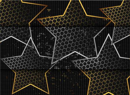 Gold abstract stars on dark background. Gold glitter star. Black design element. Modern template design. Glitter abstract golden luxury pattern.