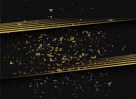 Golden sequins in modern style on black background. Dark color luxury background. Sparkling texture.
